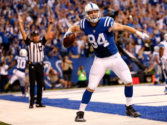 Indianapolis Colts tight end Jack Doyle (84) celebrates