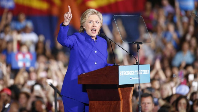 Democratic presidential nominee Hillary Clinton speaks during a rally at ASU in Tempe on Nov. 2, 2016.
