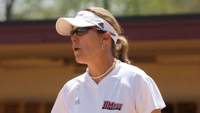 Elaine Sortino, shown coaching a game during the 2007 season, took UMass to 21 Atlantic 10 Conference softball titles and was selected the A-10 coach of the year 11 times.