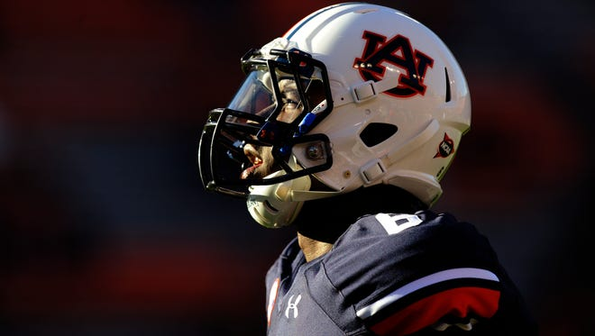 Auburn quarterback Jeremy Johnson warms up at Jordan-Hare Stadium in Auburn, Ala. on Saturday October 4, 2014.
