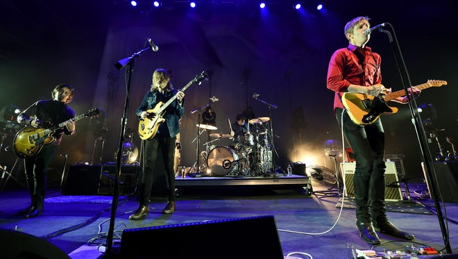 "Guitarist Alex Fischel, left, bassist Rob Pope, drummer Jim Eno and singer/guitarist Britt Daniel of Spoon perform as the band kicks off its tour in support of the upcoming album ""They Want My Soul"" at Brooklyn Bowl Las Vegas at The LINQ on June 26 in Las Vegas."