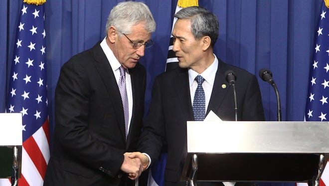 Secretary of Defense Chuck Hagel and his South Korean counterpart Kim Kwan-Jin in Seoul, South Korea.