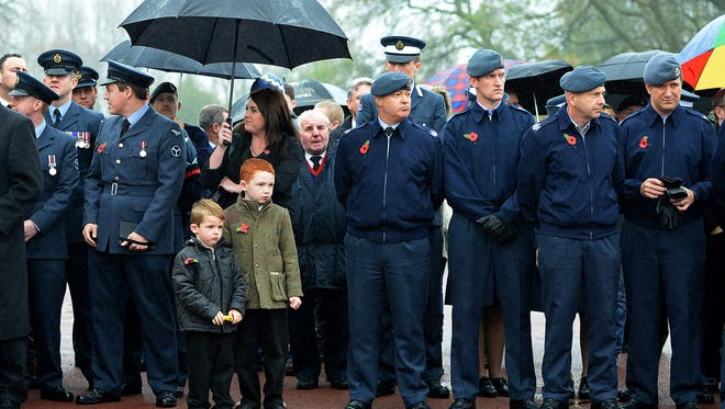 Members of the RAF attend the funeral of World War II veteran Harold Percival at Lytham Park Cemetery on Nov. 11, 2013 in Lytham St Annes, England.