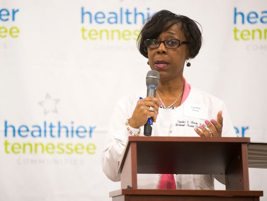 Cynthia Finch speaks on behalf of the Burlington community at the Knoxville launch event of The Governor's Foundation for Health and Wellness' Healthier Tennessee Communities program on Thursday, March 1, 2018.