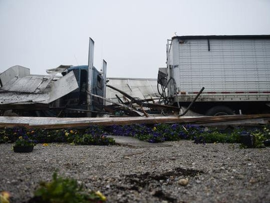 A photo from the scene where a tractor-trailer crashed into a greenhouse at 4:45 a.m. April 10 at Auchey's Plant Farm, 1851 Baltimore Pike in West Manheim Township.