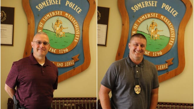 The Somerset Police Department announces the promotion of William Tedford, left, from the rank of detective sergeant to captain, and Nicholas Davidson from the rank of detective to sergeant.