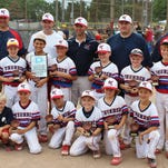 The South Lyon Thunder, an under-9 travel baseball team, capped a 28-8 season on July 12 by defeating the Ann Arbor A's, 17-5, to capture the finals the Adrian Boys of Summer Tournament. Members of the Thunder, who won four of five tourney games, include (front row, from left): Owen McRoberts, Brayden Brothers, Jovanny Skrelja, Julian Menser, Joey Sellis, Jake Hemker; (second row, from left) Andrew Berg, Collin White, Anthony Pesci, AJ Miller, Liam Young, Evan McRoberts, Connor Davey; (back row, from left) coaches Rob Brothers,Scott Menser, Doc Miller,Mark Skrelja and Joe Pesci.