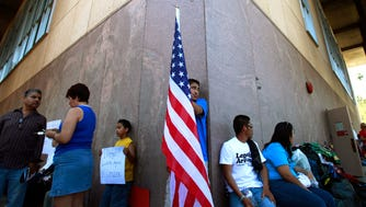 Protesters at the Arizona state capitol in Phoenix in 2010.