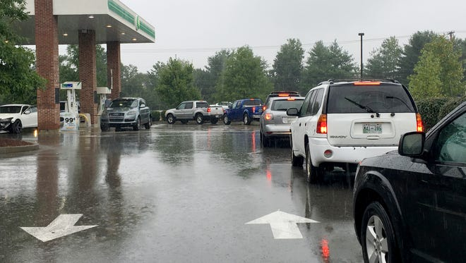 There was a long line waiting for gas Saturday morning at the BP on Highway 96 W. in Franklin.