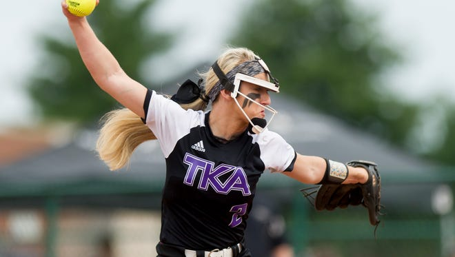 King's Academy's Kaylan Cole (2) pitches during a Division II Class A softball game between King's Academy and Friendship Christian at the 2017 TSSAA Spring Fling state championships at the Murfreesboro Sports Complex & McKnight Fields in Murfreesboro, Tennessee on Friday, May 26, 2017.