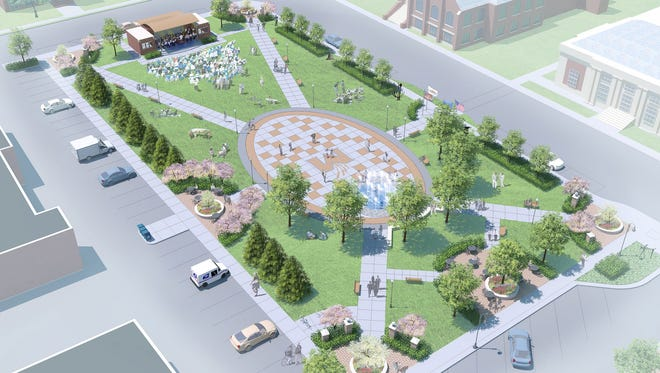 A rendering of the Wenzel Family Plaza in downtown Marshfield.