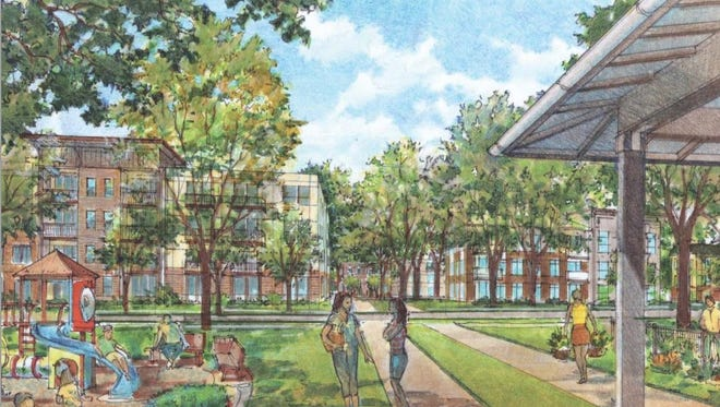 An artist's rendering shows the playground as part of Envision Cayce. The public housing community in East Nashville will become mixed income and is slated to include a new charter school operated by the nonprofit Martha O'Bryan Center.