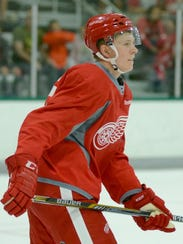 Dennis Cholowski during a scrimmage at the Red Wings'