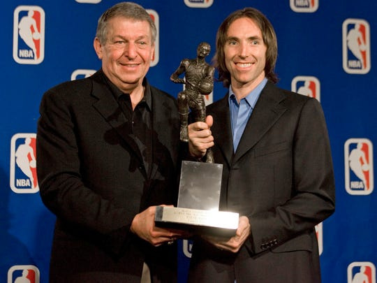 May 7, 2006: Jerry Colangelo poses with Steve Nash, winner of the Maurice Podoloff Trophy as the NBA's Most Valuable Player for the 2005/06 season. Nash joins Hall of Famer Magic Johnson as the only point guard in league history to win multiple MVP trophies and becomes one of only nine players to win the award in back-to-back seasons.