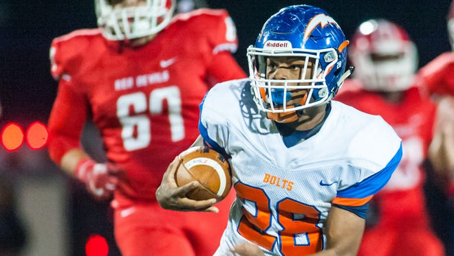 Millville running back Clayton Scott rushes in last year's win over Rancocas Valley in the South Jersey Group 5 semifinals. The two clubs meet again Friday in the same round.