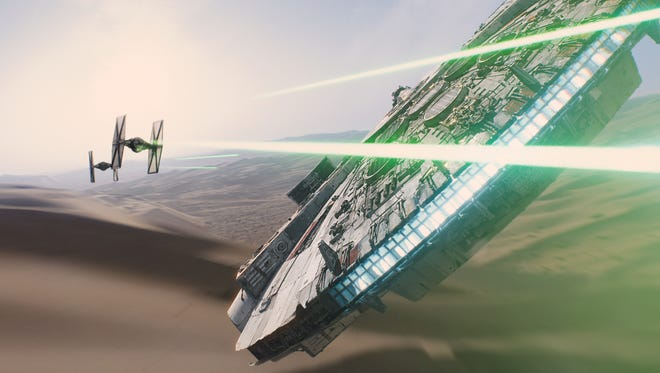 """A scene from the upcoming film, """"Star Wars: The Force Awakens,"""" expected in theaters on Dec. 18, 2015."""