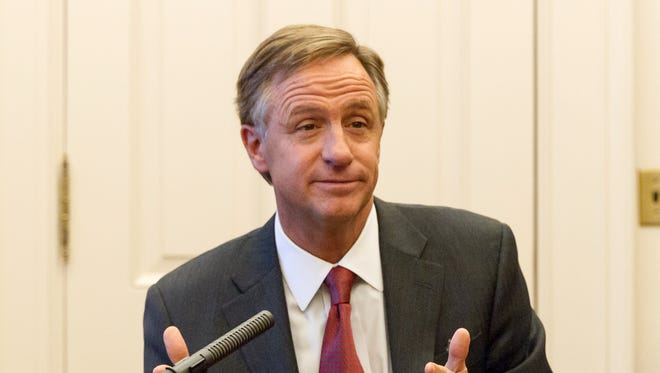 Gov. Bill Haslam speaks to reporters in an office suite at the state Capitol in Nashville on Wednesday.