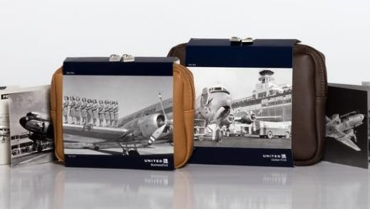 United Airlines amenity kits celebrating the carrier's 90th anniversary.