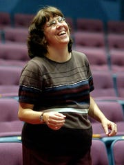 "Naples Players artistic director Dallas Dunnagan laughs at the beginning of rehearsal one of her early plays, ""Born Yesterday,"" in April 2003, at The Sugden Theatre in Naples. She left this year after 16 years."