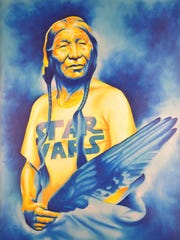 """""""Long Long Ago,"""" an airbrushed acrylic and oil painting by Robert Martinez, shows off the variety of art and media the Creative Indigenous Collective brings to a show."""