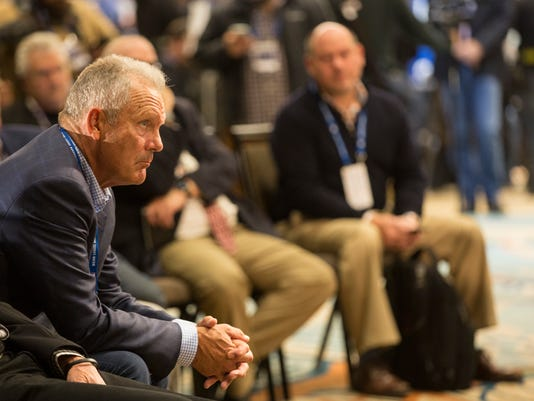 Hall of Famer George Brett listens to the newly elected Hall of Famers Alan Trammell and Jack Morris during the Major League Baseball winter meetings in Orlando, Fla., Monday, Dec. 11, 2017. (AP Photo/Willie J. Allen Jr.)