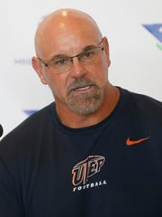 UTEP head coach Sean Kugler at his regular weekly press