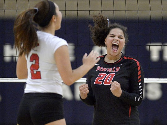 Penfield junior Sarah Green (20) is moving from middle hitter to outside this fall.