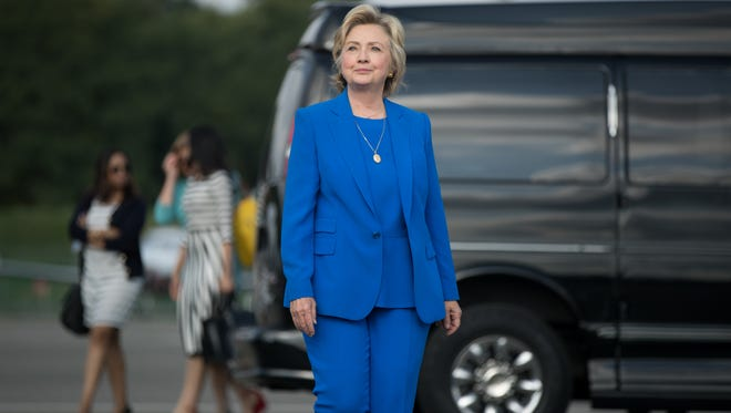 Democratic presidential candidate Hillary Clinton arrives to speak to members of the media on Sept. 8, 2016, before boarding her campaign plane at Westchester County Airport, in White Plains.