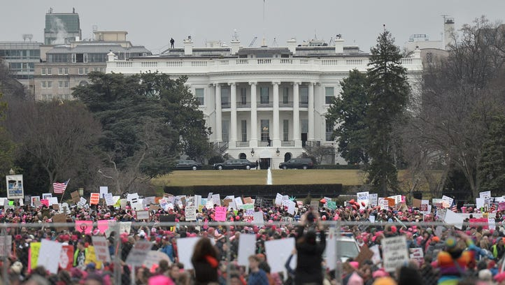 Demonstrators protest near the White House during the