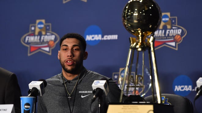 Mar 31, 2016; Houston, TX, USA; Michigan State Spartans guard Denzel Valentine speaks to media during a press conference at NRG Stadium. Mandatory Credit: Bob Donnan-USA TODAY Sports