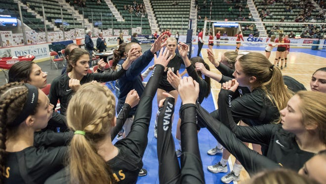 Walter Panas' players rally during the game against Williamsville East during the Girls Volleyball State Championships at the Glens Falls Civic Center Saturday, November 19th, 2016.