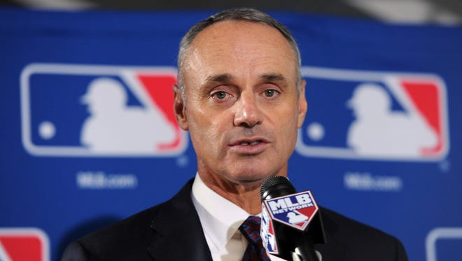 Rob Manfred replaces Bud Selig as the commissioner of Major League Baseball.