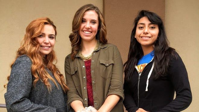 Corona High School volleyball players Angelina Romero, Aubrey Brandenberger and Peyton Dunsworth.