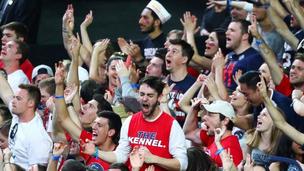 Gonzaga fans react during the first half of the national