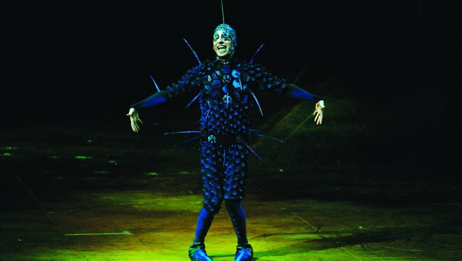 """Cirque du Soleil's """"OVO"""" is populated by a fanciful array of colorful insects designed by noted costume designer Liz Vandal. Here, we see a fly called """"The Foreigner."""""""