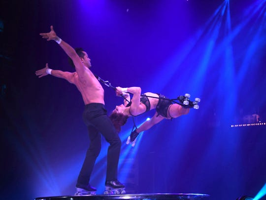 "Skaters Evangelia Silva of Portugal and Leando Mikaelo of Spain perform during ""Cirque Paris"" at the Eldorado."