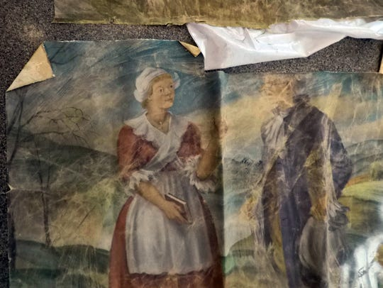 Details from WPA murals that were recovered from the