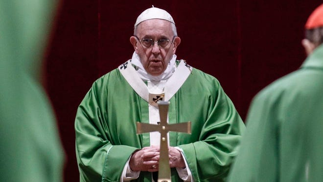 Pope Francis celebrates Mass at the Vatican on Feb. 24, 2019, at the conclusion of his summit on clergy sex abuse.