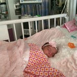 Aria Blake of Visalia, who weighs only 6 pounds at 1 month old, is being treated for Severe Combined Immunodeficiency at the University of California San Francisco Benioff Children's Hospital. Parents Lance Blake and Sonya Reveles ask for prayers for their daughter.