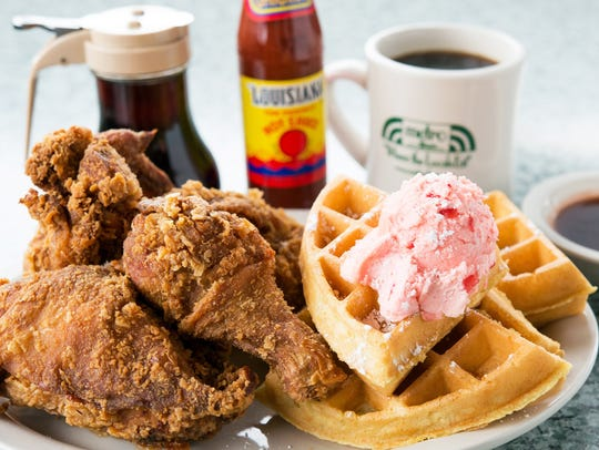 Metro Diner's fried chicken and waffle features a Belgian