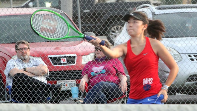 Cheyenne Lea of the Moberly varsity girls tennis team won her No. 5 singles match Tuesday 8-3 against Boonville's Kate Schneringer. The Lady Spartans won their home dual by a 6-3 result as well.