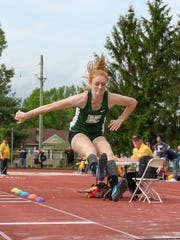 Kinnelon's Kathryn Brown competes in the triple jump during the Morris County Track and Field Championships at Boonton High School on May 17, 2018.