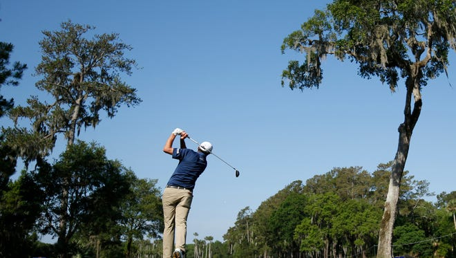 Jim Herman hits his tee shot on the 6th hole during the first round of the 2016 Players Championship golf tournament at TPC Sawgrass - Stadium Course.