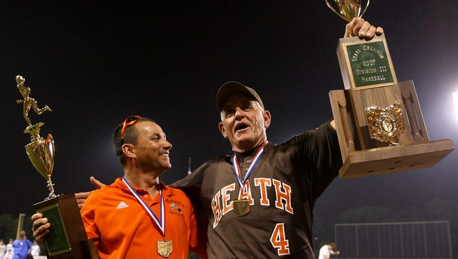 Heath boys track coach Darl Keller and Heath baseball coach Dave Klontz hold their respective state championship trophy in 2007.