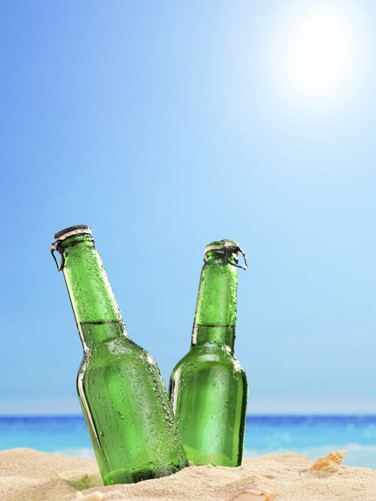 beer bottles beach