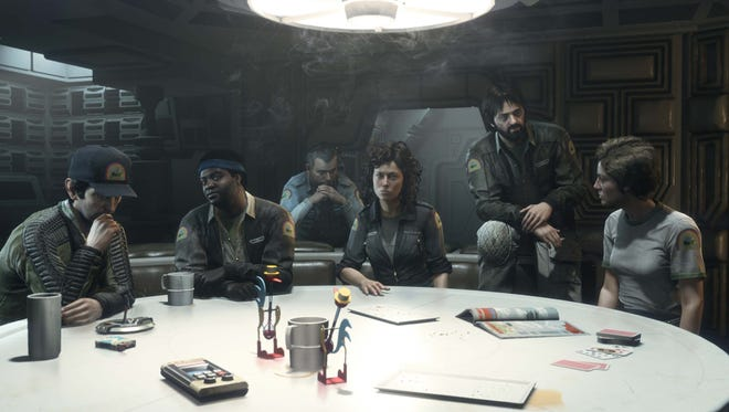 Thirty-five years after 'Alien,' Harry Dean Stanton (from left), Yaphet Kotto, Sigourney Weaver Tom Skerritt and Veronica Cartwright reprise their roles as the crew of the doomed tug ship Nostromo in 'Alien: Isolation' pre-order bonus content