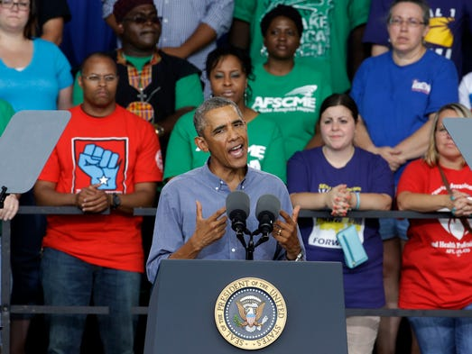 President Obama speaks at Laborfest 2014 at Henry Maier Festival Park Monday, Sept. 1, 2014, in Milwaukee. (AP Photo/Morry Gash)