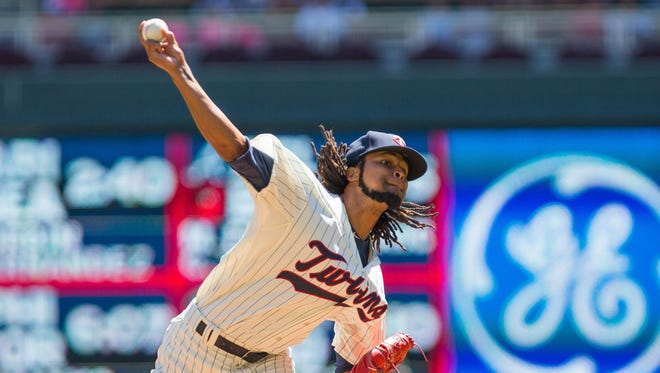 Minnesota Twins starting pitcher Ervin Santana (54) pitches in the first inning Wednesday against the Pittsburgh Pirates at Target Field in Minneapolis.