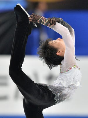 Japan's Yuzuru Hanyu performs during the men's free skating competition at the world figure skating championships in Saitama, on March 28.