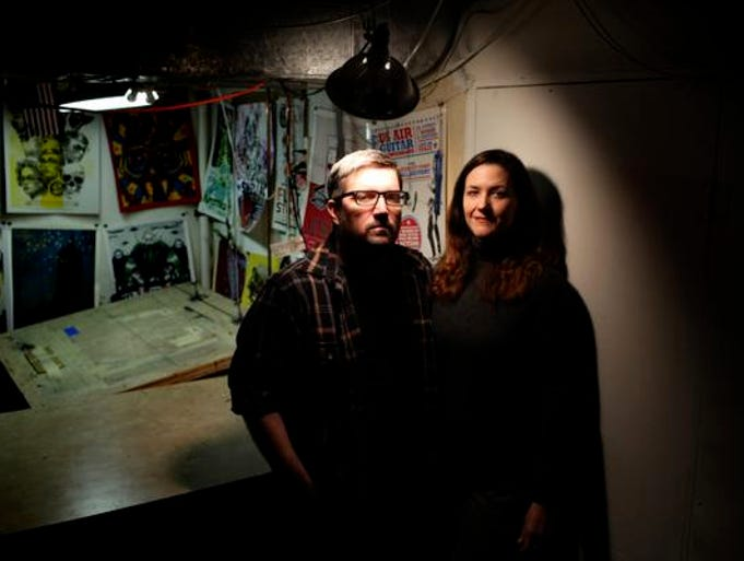 Ron Jasin, left, and Mary Yates pose for a portrait in their home studio. Jan 9, 2014